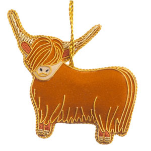 Felt Highland Cow Ornament
