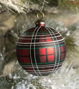 Tartan Ball Glass Ornament