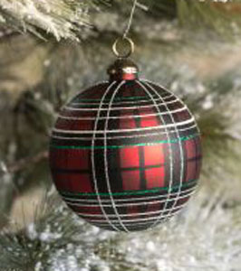 Tartan Ball Glass Ornament