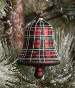 Tartan Bell Glass Ornament