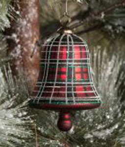 Tartan Bell Glass Ornament