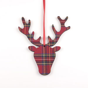 Tartan Stag Head Ornament in Royal Stewart