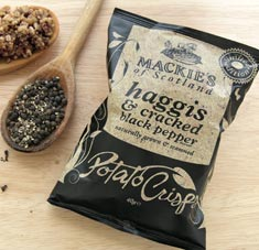 Haggis & Cracked Black Pepper Potato Crisps 5.3 oz bag,