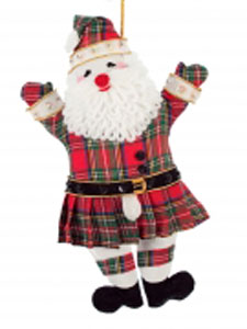 Kilted Santa with Fuzzy Beard Ornament